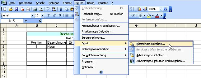Blattschutz In Excel Aufheben